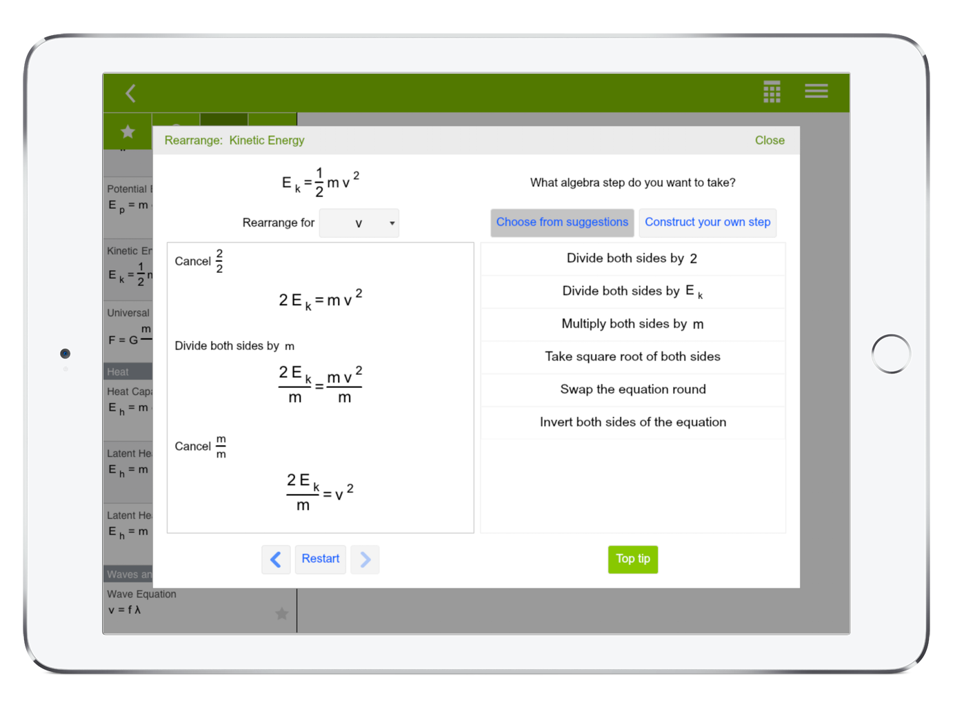 EquationLab's algebra tutor or algebra calculator helps you learn algebra and to rearrange equations in math and physics. Algebra is a vital skill to learn to succeed and get great results in high school physics and math.